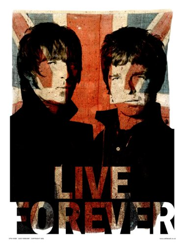 onthewall Oasis Liam und Noel Live Forever Kunstdruck Poster Perücke (otw50)