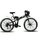 WYFDM Vélo de Montagne de 60 km Vitesse Maximum 35 km/h Vélo électrique Pliant Marche 500 W Moteur à Double Choc Ebike,Noir,24