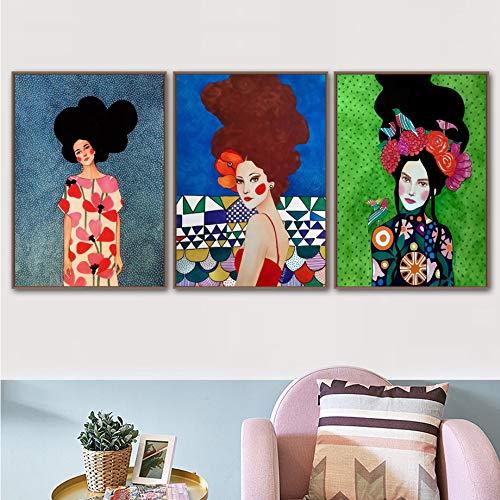 SDFSD Moderne Ölgemälde Mode Vintage Frau Make-up Schönheit Friseur Modell Wandkunst Leinwand Malerei Nordische Poster und Drucke Wandbilder für Wohnzimmer Dekor 55x95cm * 3pcs