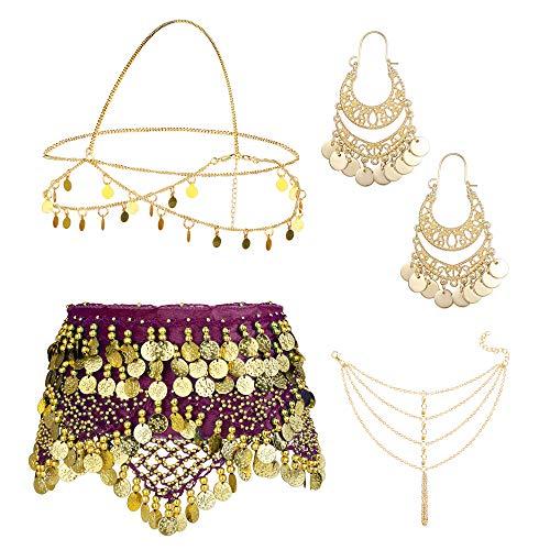 ORAZIO 4 Sets Women's Belly Dance Accessories,Belly Dance Hip Scarf Wrap Belt,Bohemian Gold Coin Drop Earrings Headpiece Small Coins Hair Chain Tassel Anklet Bracelet for Women