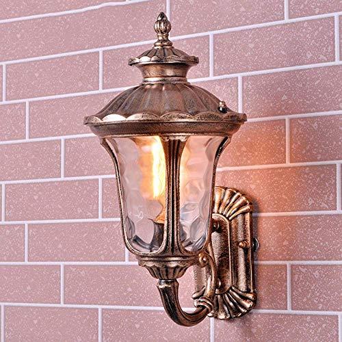 LOKKRG Cobre Impermeable al Aire Libre, Cristal Luz de Pared Exterior Villa Porche Puerta Lámpara de Pared Entrada Paisaje Luz Nocturna