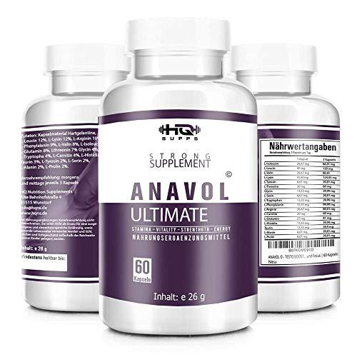 ANAVOL - Aminosäuren-Komplex - 17 Aminosäuren inkl. aller essentiellen Aminosäuren - hochdosierte Kapseln - Muskelaufbau, Kapseln - Hergestellt in Deutschland von HQ-Supps