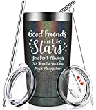 coffee cup for car - Good Friends Are Like Stars - Funny Best Friend Birthday Gifts - Christmas Friendship Present Idea for Women, Men, Sister, Coworker, Roommate, BFF, Female, Lady, Her - Insulated Wine Tumbler Cup
