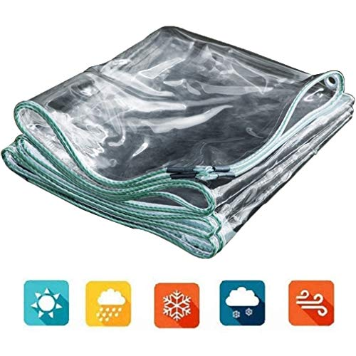 0.5mm Waterproof Transparent Tarpaulin,PVC Thicken Edging Tarp,Window Windproof Film Cloth,Goods car Awning Cloth,for Garden,Greenhouse,Balcony,Foldable,with Metal Eyelet(2x2.5m/6.6x8.2ft)