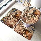 Saba-ton Swedish Empire Comfort Collections - Juego de alfombrillas de baño con pedestal, alfombra de baño suave, antideslizante, alfombrilla de baño de chocolate