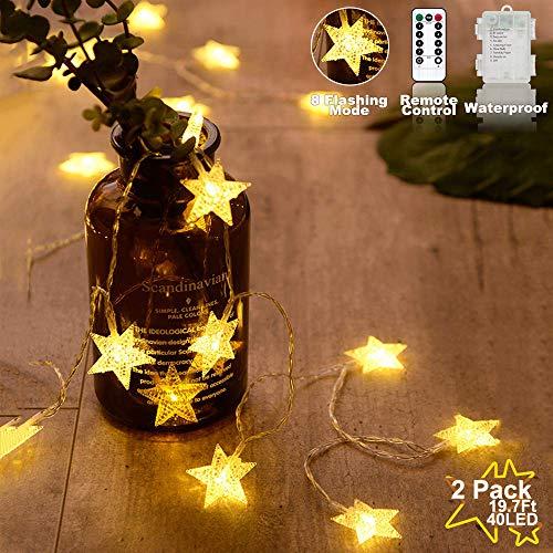 Stjärnljusslingor batteridriven varm vit, vattentät 2-pack 50 cm 40 LED ljusslingor 8 lägen med fjärrkontroll, för hem, fest, jul, bröllop, trädgårdsdekoration