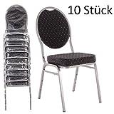 MACOShopde by MACO Möbel Bankettstühle 10er Set schwarz – Stapelstühle Konferenzstühle Saalstühle für Gastronomie und Gewerbe - stapelbar und sehr stabil