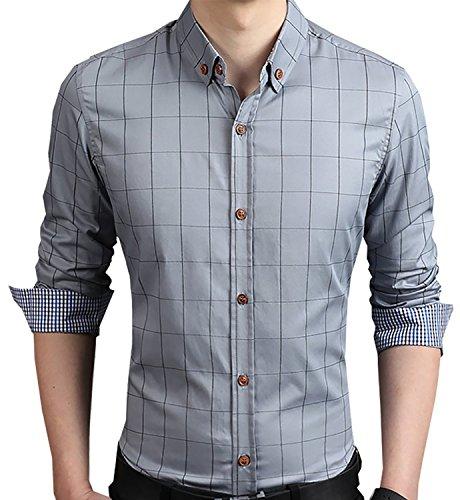 Aiyino Men's 100% Cotton Long Sleeve Plaid Slim Fit Button Down Dress Shirt US M Gray