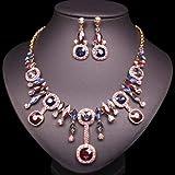 yuese Nuevo collar de hija de moda pendientes de cristal collar joyería nupcial boda lujo traje de las mujeres conjuntos de joyas (color metálico: azul y morado)