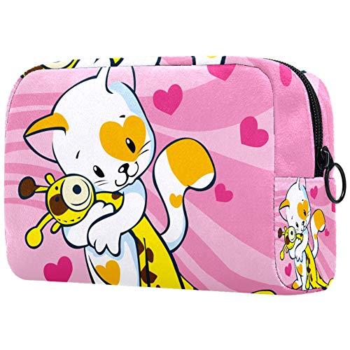 KAMEARI Bolsa de cosméticos lindo gato ama jirafa juguete grande cosmético organizador multifuncional bolsas de viaje