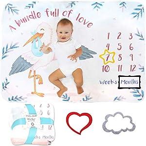 Manta Meses Bebé | Modelo Unisex | Regalo De Fiesta De Nacimiento | Extra Suave y Gruesa | Manta Para Fotos Mensuales…