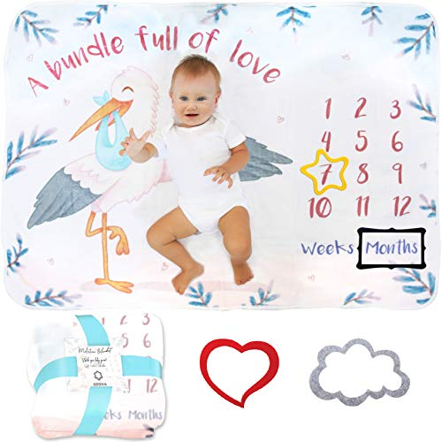 Baby Meilenstein Decke | Foto Monatsdecke Baby Neugeborene Junge oder Mädchen, Unisex | Personalisiertes Neugeborenen Baby Party-Geschenk | Motiv Storch | Extra-Weich & Dick | Baby Monats-Decke