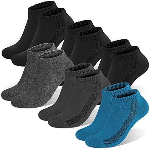 Sneaker Socken Herren Damen, 6 paar Unisex socks Sportsocken Laufsocken Baumwollsocken, Schwarz×3+blau×1+dunkelgrau×1+grau×1, L