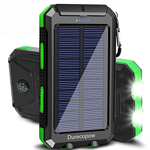 Solar Charger, Durecopow 20000mAh Portable Outdoor Waterproof Solar Power Bank, Camping External Backup Battery Pack Dual 5V USB Ports Output, 2 Led Light Flashlight with Compass (Green)