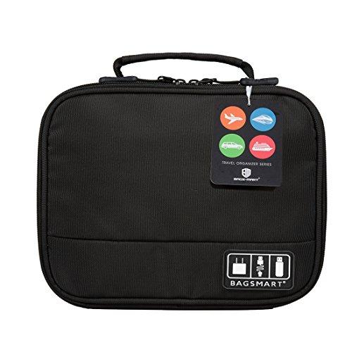 『(バッグスマート)BAGSMART PC周辺小物用収納ポーチ ベルクロ式仕切り iPad Mini2収納可 ブラック』の2枚目の画像