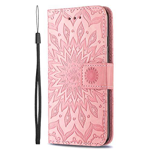 KKEIKO Hülle für LG V40 ThinQ, PU Leder Brieftasche Schutzhülle Klapphülle, Sun Blumen Design Stoßfest HandyHülle für LG V40 ThinQ - Rosa