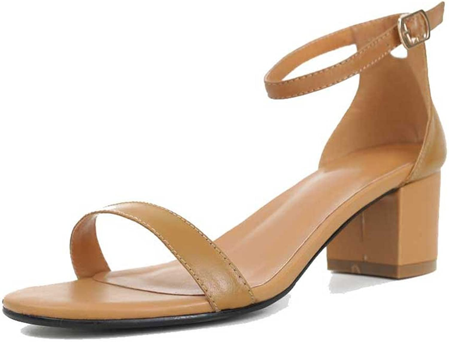 A-BUYBEA Women's 1.57  Low-Heeled Leather Sandal shoes Black White Brown Size 4.5-7.5