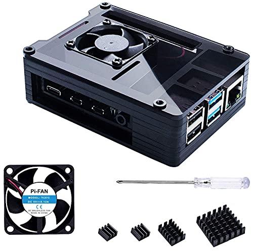 Bruphny Caja para Raspberry Pi 4, Caja con 35mm Ventilador, 4 X Disipador, Compatible con Raspberry Pi 4 Modelo B (Gran Ventilador y Disipadores)-Negro
