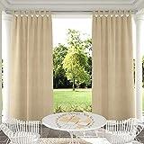 Clothink Outdoor Vorhänge Aussenvorhang B:132xH:215cm mit Klettbänder Ohne Bohren Winddicht Wasserabweisend Sichtschutz Sonnenschutz UVschutz Beige