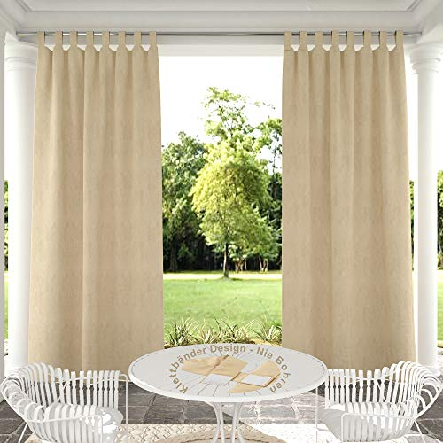 Clothink Outdoor Vorhänge Aussenvorhang B:132xH:245cm mit Klettbänder Ohne Bohren Winddicht Wasserabweisend Sichtschutz Sonnenschutz UVschutz Beige