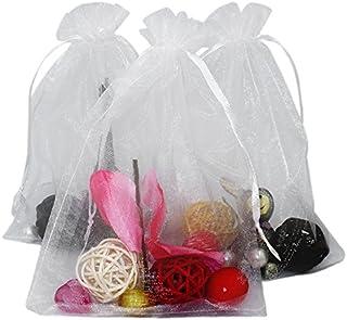 jijAcraft 100Pcs Extra große 13cm x 18cm Organza-Geschenk-Taschen mit Kordelzug für Hochzeit Beutel Taschen und Geburtstag Party Schmuck Festival Süßigkeiten Schokolade Taschen (Weiß)
