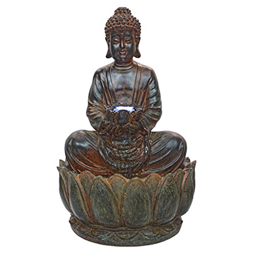 Asian Decor Water Fountain with LED Light - Endless Serenity Buddha Tabletop Fountain - Desk Fountain Water Feature