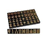 SHY Juego de Mesa de Viaje de Mahjong Chino Juegos de Mahjong Tradicionales Chinos con Mesa Plegable Juego de Azulejos Mahjong Juego de tamaño portátil y liviano 144 Negr