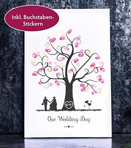 Baum Bild für Fingerabdrücke auf Leinwand personalisierbar Wedding Tree Gästebaum für die Hochzeit als Gästebuch (30 x 45 cm, Baum 2)
