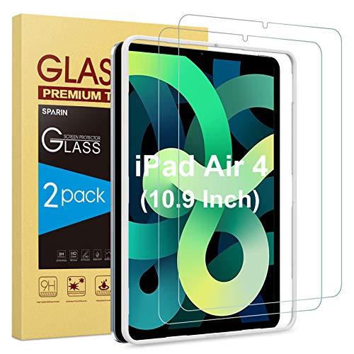 SPARIN Pellicola Protettiva Compatibile con iPad Air 4 2020, Vetro Temperato da 10,9 Pollici con Cornice di Allineamento, 2 Pezzi