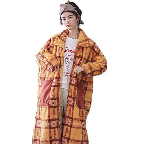 DXX-HR Camisón Femenino del otoño y del Invierno Largo de Rodilla a Cuadros Engrosamiento además de Terciopelo Franela Pijama de Invierno Batas Pueden ser gastados Fuera Homewear, XXL