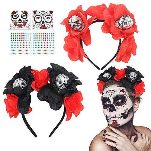 CHALA 2PCS Queen Horns Costume Set Tocado de cuerno con collar de encaje gtico Disfraz de bruja Sombrero negro Diablo Accesorios para el cabello Disfraz de Halloween para Cosplay Masquerade Carnaval