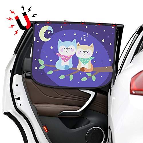 KIBTOY Autoseitenfenster Sonnenschirm - Universeller reversibler Magnetvorhang für Babys und Kinder mit Sonnenschutzblockschäden durch direktes helles Sonnenlicht und Hitze,Motiv: Katze (2)