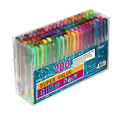 Feela 200 Pack Glitter Gel Pens Set 100 Gel Pen plus 100 Refills for Adult Coloring Books Drawing Art Markers