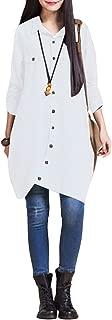 Romacci Women Button Down Long Blouse Casual Cotton Linen Plus Size Top Shirt Dress