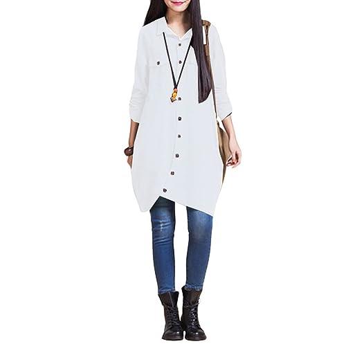 879d3567b23 Romacci Women Button Down Long Blouse Casual Cotton Linen Plus Size Top Shirt  Dress Dark Blue