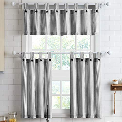 July Joy 3 Piece Cotton Kitchen Curtains and Valances Set for Small Windows Short Curtains 36 Inches Length for Cafe Bathroom Tab Top 56' x 36', Black