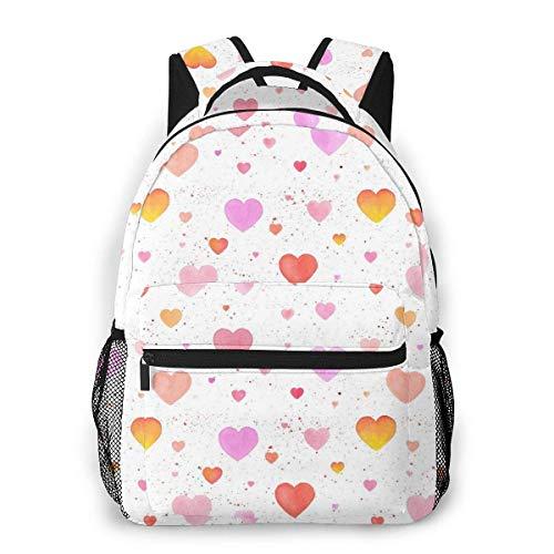 Lawenp Mochila Unisex de Moda de Patrones sin Fisuras con corazón Bookbag Ligero portátil para Viajes Escolares Acampar al Aire Libre