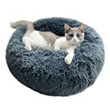 ARTIFUN Luxury Fluffy Pet Bed for Cats Dogs Round Cuddler Mini Medium Large Sized Dog Cat Beds Plush Cozy Self Warming Autumn Winter Indoor Snooze Sleeping Cozy Kitty Dogs Kennel