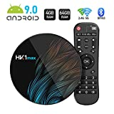 Sidiwen Android 9.0 TV Box HK1 MAX 4GB RAM 64GB ROM RK3318 Quad-Core Dual WiFi 2.4G/5G BT 4.0 Ethernet H.265 USB 3.0 Compatible con 3D 4K Ultra HD Smart TV Box