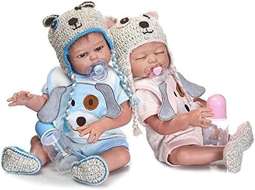 ZBYY Reborn Babys 55cm Lebensecht Silikon mädchen Junge Puppe Magnetismus Spielzeug 19Zoll 5cm,Twins