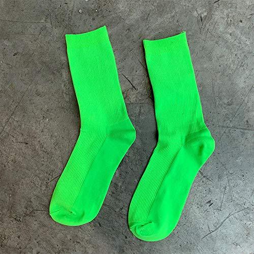 Zcarlota 2 Paare Socken der Frauen japanische Baumwollmultifarben Nette lange Rippenweiche Qualitäts-lose Socken für Mädchen-Weihnachtsgeschenk-Neongrün_35 bis 40