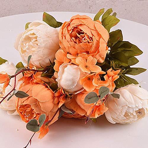 XFLOWR 13 koppen / 1 bundel zijden kunstbloemen Real Touch handgemaakte bruid boeket voor bruiloft Home Decor pioenroos kunstmatige planten wit-oranje.