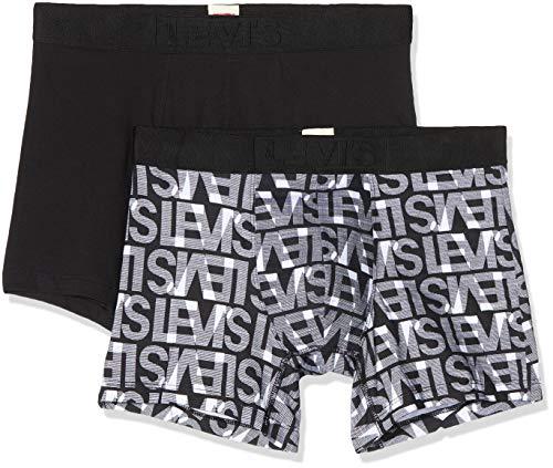 Levi's Levis Men Logo AOP Boxer Brief 2p, Multicolor (Black/White 002), Large (Talla del Fabricante: 030) (Pack de 2) para Hombre