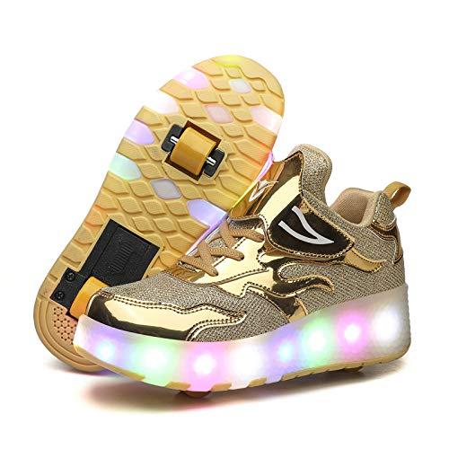 RDJSHOP Zapatos de Patinaje sobre Ruedas con Ruedas LED Intermitentes para Niños Carga USB Zapato de Skate Técnico Retráctil Zapatillas de Gimnasia para Correr al Aire Libre,Gold-32