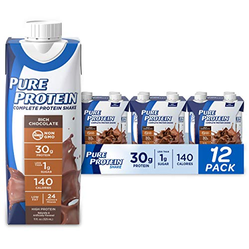 Pure Protein Chocolate Protein Shake | 30g Complete Protein | Ready to Drink and Keto-Friendly | Vitamins A, C, D, and E plus Zinc to Support Immune Health | 11oz Bottles | 12 Pack by AmazonUs/NBTB9