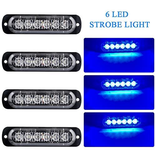 4 Unids Ultra Thin 6 LED Luces de Advertencia de Emergencia Peligro Estroboscópico Intermitente Luz Universal para 12-24 V Coche Vehículo Camión Remolque Caravana Motocicleta Van(Azul)