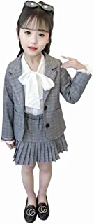AMIGGOO 卒業式 入学式 フォーマル スーツ 女の子 スーツ チェック柄 結婚式 発表会 ジャケット プリーツスカート ホワイト ブラウス リボン グレー ブラウン 110 120 130 140 150 160