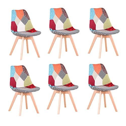 BenyLed Set di 6 Sedie per Sala da Pranzo con Schienale Rivestito in Tessuto di Lino Patchwork (Rosso, 6)