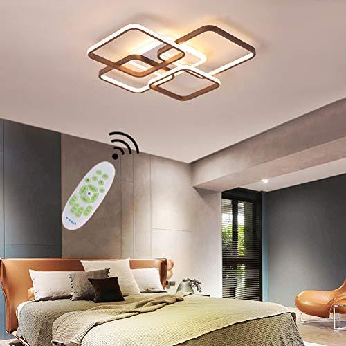 Lámpara de techo Marrón LED Moderna Regulable Con control remoto Plafones Comedor Dormitorio Rectangular Diseño Decor Lámpara de Acrílico Pantalla para Mesa de Comedor Cocina Pasillo Baño Luces