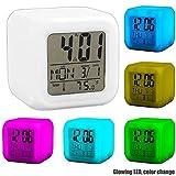 OcioDual Reloj Despertador Cubo de Colores Digital Termómetro Fecha Alarma Digital Blanco